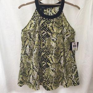 Alfani Sleeveless Lime Snake Blouse